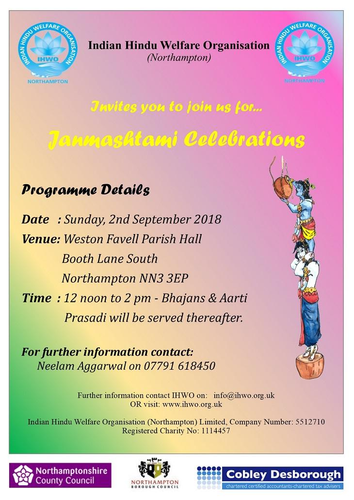 Janmashtami Northampton 2nd September 2018