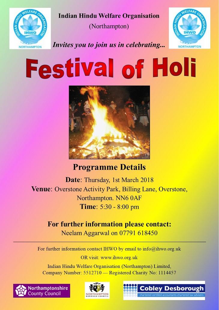 festival of holi northampton ihwo 2018