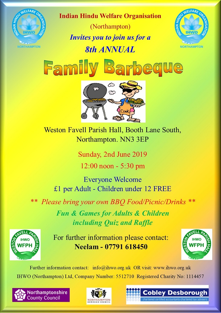 IHWO presents Annual family barbeque on Sunday June 2nd 2019 at weston favell parish hall